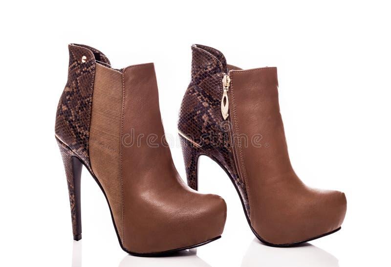 Bruine vrouwelijke high-heeled laarzen stock foto's