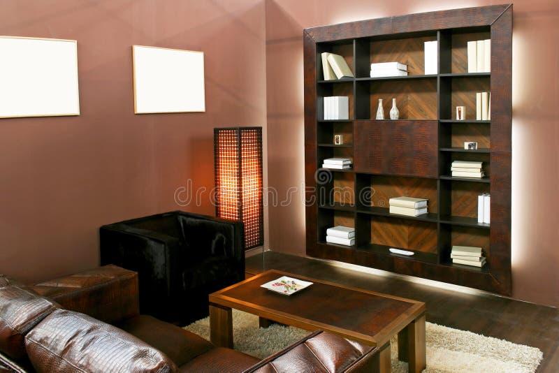 Bruine woonkamer royalty-vrije stock afbeelding