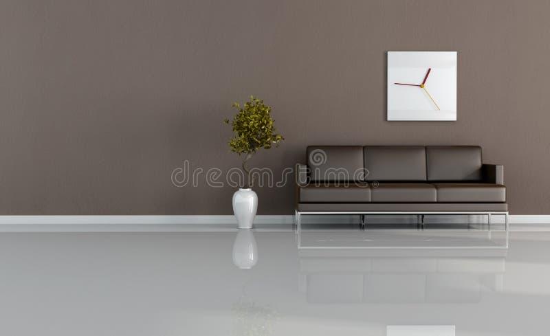 Bruine woonkamer stock afbeelding