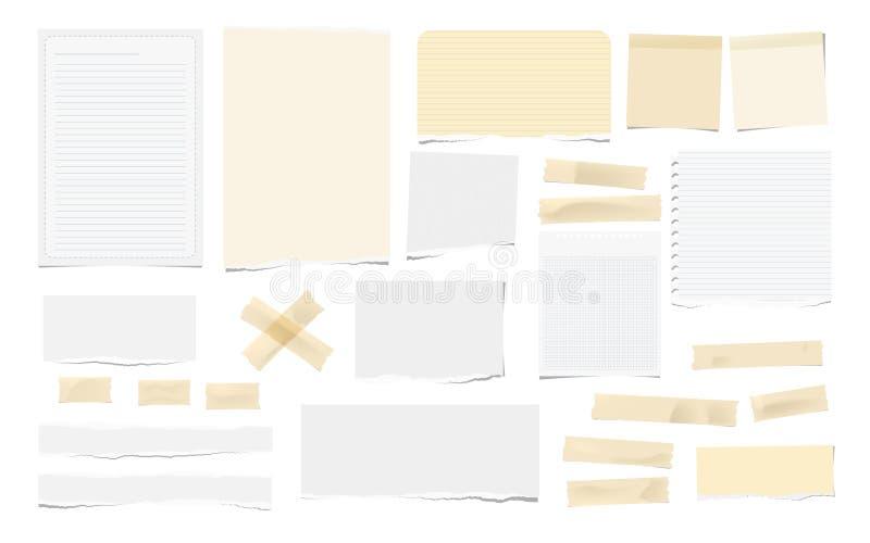 Bruine zelfklevend, kleverig, het maskeren, de stukken van de buisband, wit gescheurde nota, notitieboekjedocument voor tekst is  vector illustratie