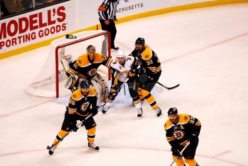 Bruins on defense. Boston Bruins, Zdeno Chara (33), Johnny Boychuk (55) and Patrice Bergeron (37) stay home on defense in front of goaltender Tuukka Rask (40 stock photos
