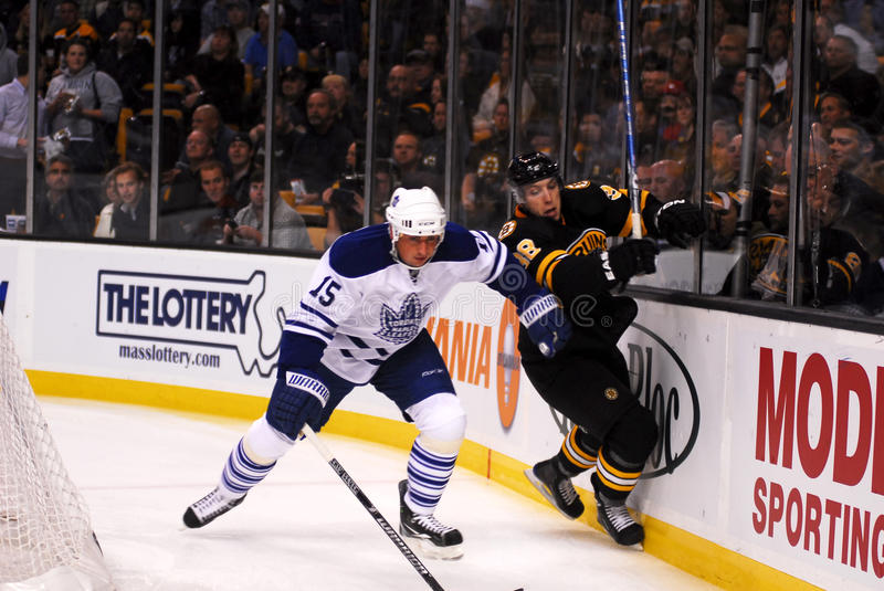 Bruins - Leafs NHL Hockey, Oct 28, 2010. Leafs D Thomas Kaberle (15), knocks Bruins Rookie Jordan Caron (38) off the puck into the boards during the first period stock image