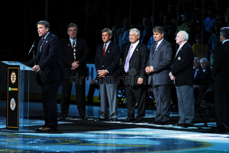 Bruins Legends. Boston Bruins legends, (l-r) Cam Neely, Terry O'Reilly, Bobby Orr, Johnny Bucyk, Raymond Bourque were all on hand to honor another Bruins Hall of stock images