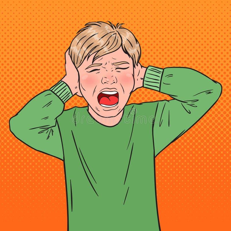 Bruit Art Angry Screaming Boy Tearing ses cheveux gosse agressif Expression du visage émotive d'enfant illustration de vecteur