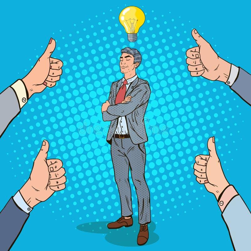 Bruit Art Businessman avec l'ampoule et les pouces  illustration stock