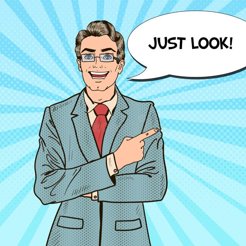 Bruit Art Businessman Pointing Copy Space avec la bulle comique de la parole