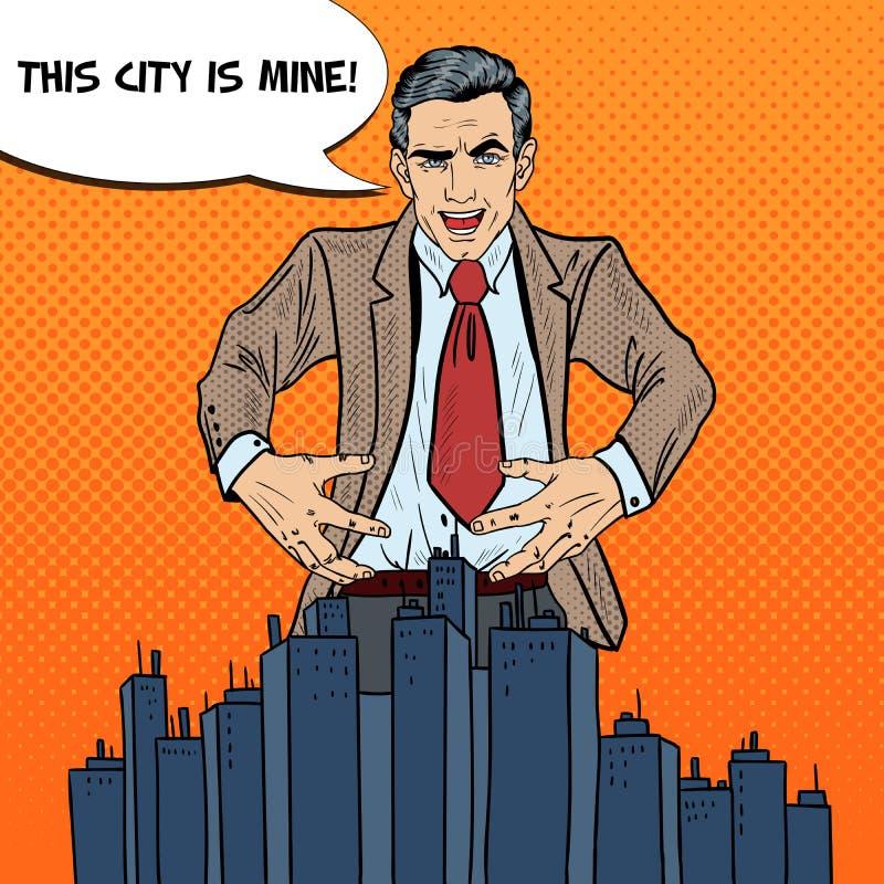 Bruit Art Businessman Wants pour saisir la ville illustration stock
