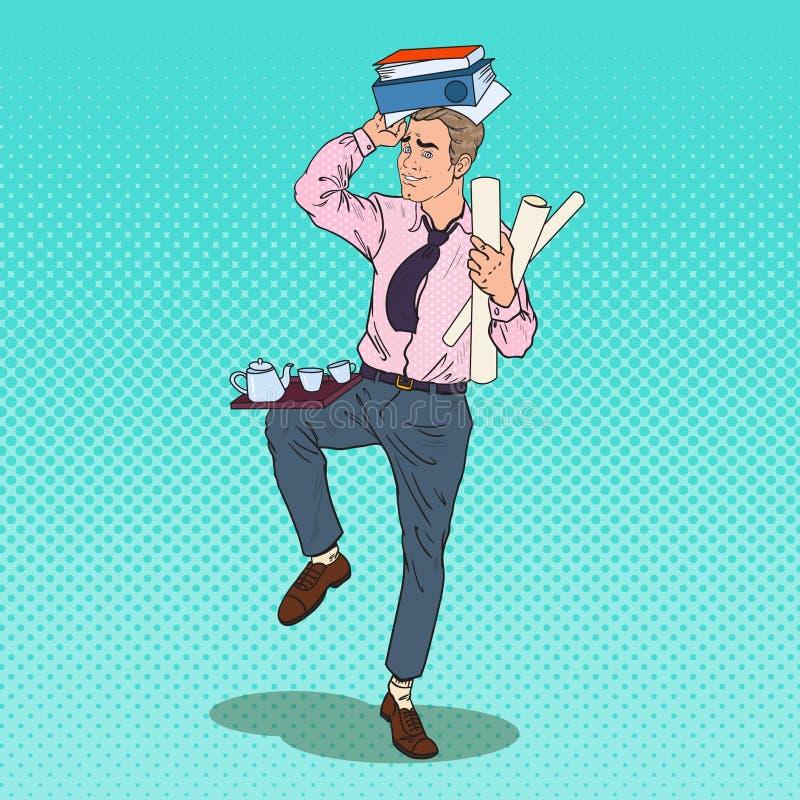 Bruit Art Busy Business Man avec la pile des documents Effort au travail de bureau illustration libre de droits