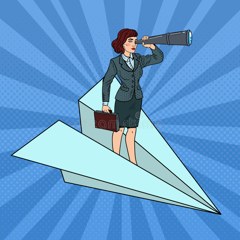 Bruit Art Confident Business Woman Flying sur l'avion de papier avec le regard illustration libre de droits