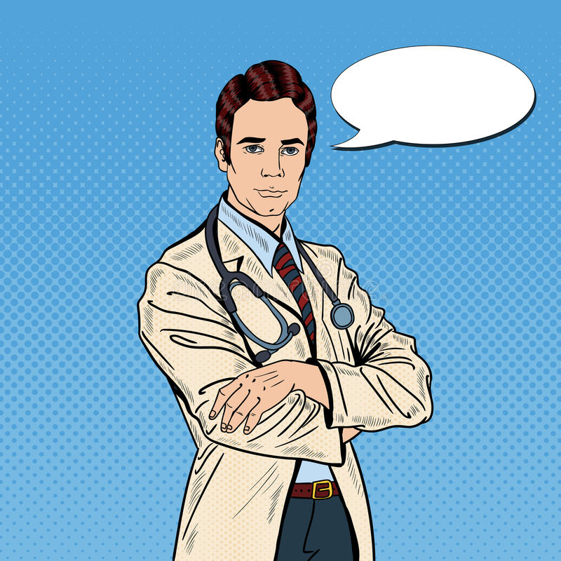 Bruit Art Confident Doctor Man avec le stéthoscope illustration libre de droits