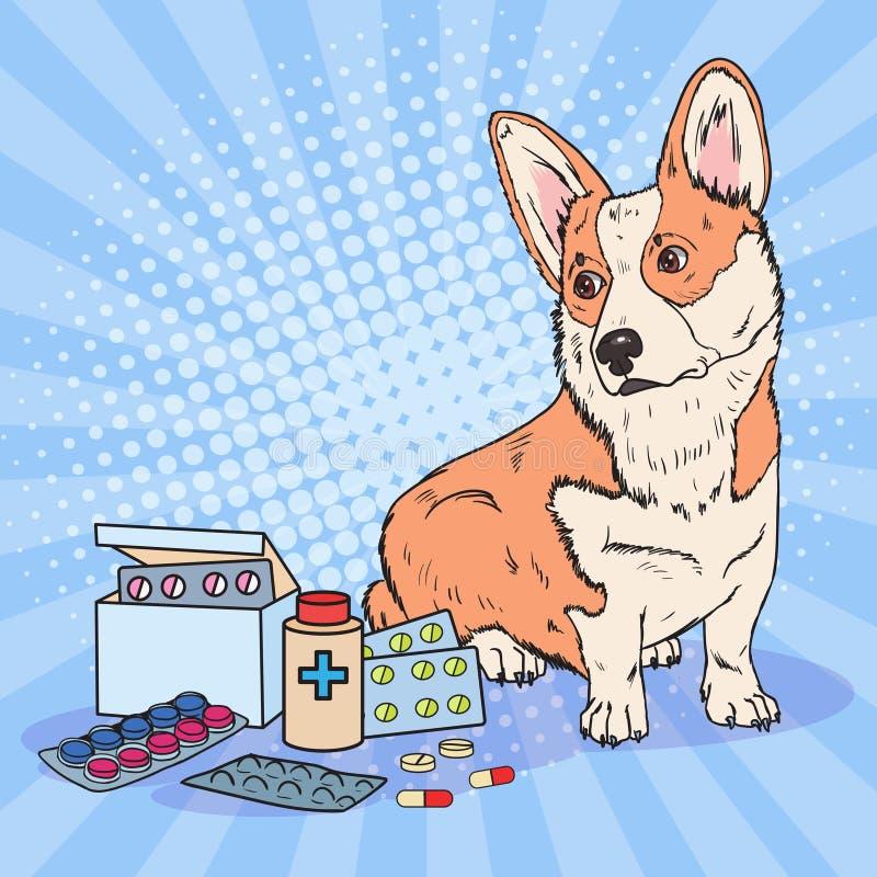 Bruit Art Corgi Dog avec des pilules et des Tablettes de médicament Soins de santé d'animal familier illustration libre de droits