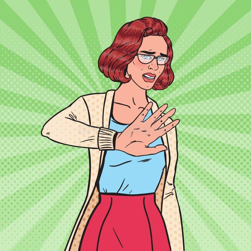Bruit Art Disgusted Young Pretty Woman faisant le signe de main d'arrêt illustration libre de droits