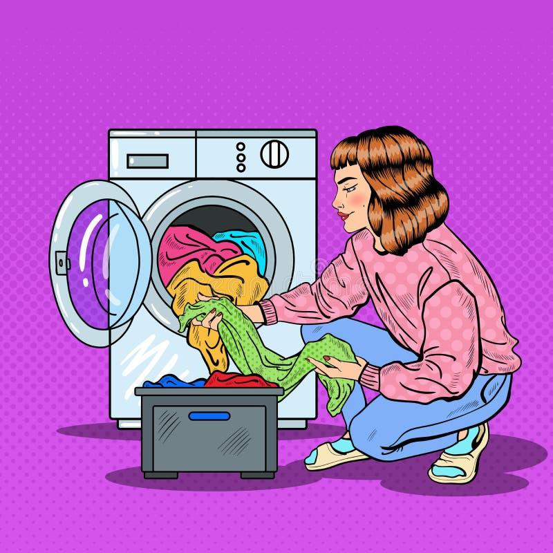 Bruit Art Housewife Doing Laundry dans la machine à laver illustration de vecteur