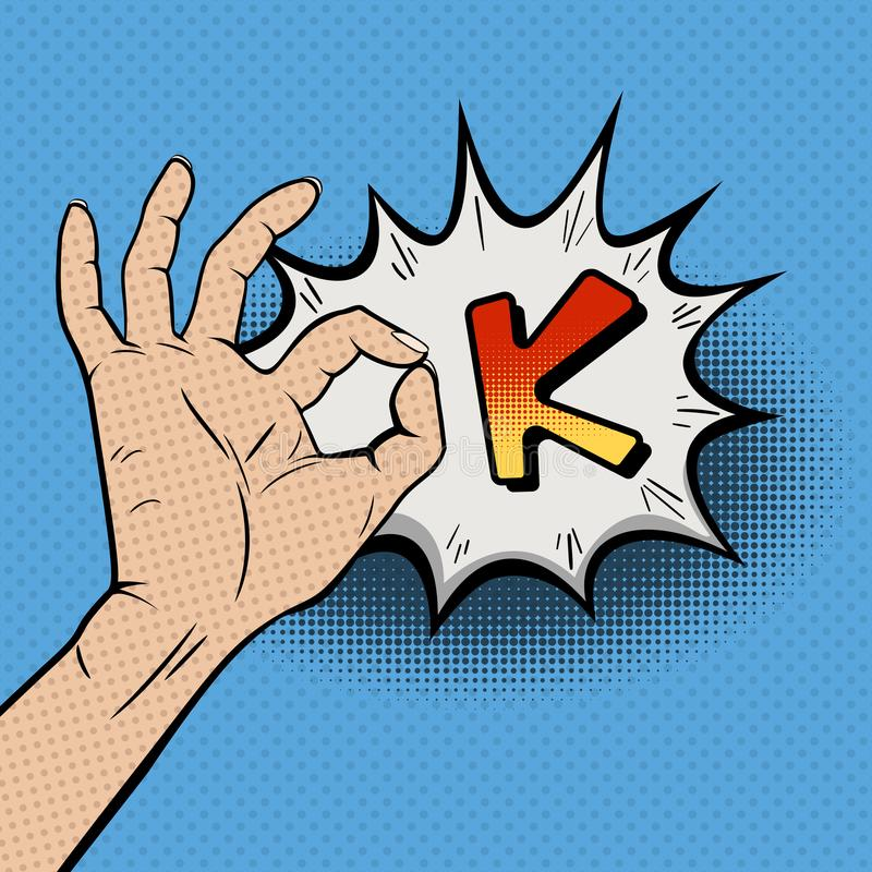 Bruit Art Illustration de vintage avec le geste CORRECT illustration de vecteur