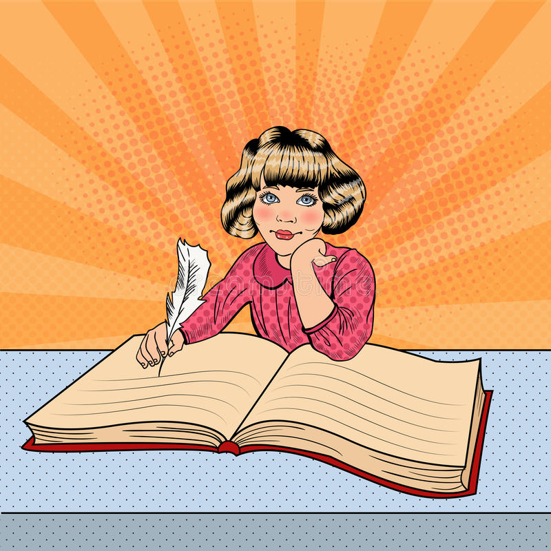 Bruit Art Little Girl Writing dans le grand livre illustration stock