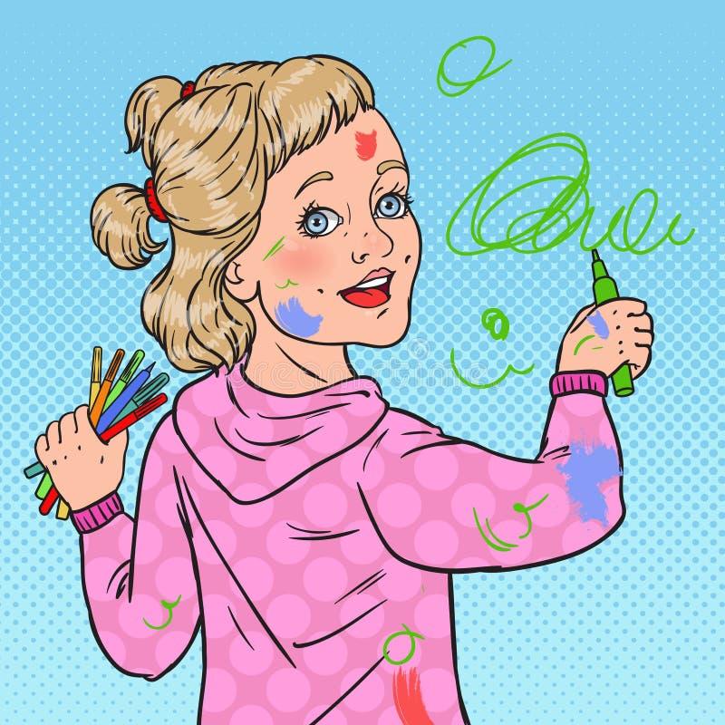Bruit Art Little Painter Painting sur le mur Dessin de fille avec des crayons sur le papier peint Enfance heureux illustration de vecteur