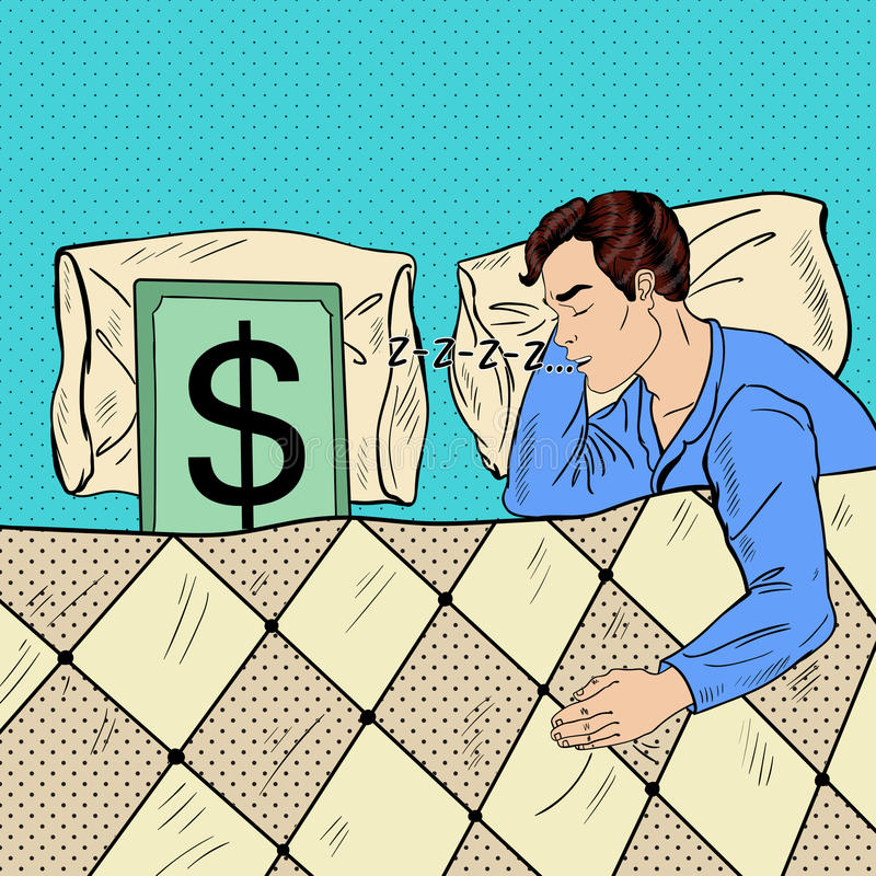 Bruit Art Man Sleeping dans le lit avec le billet de banque du dollar illustration libre de droits