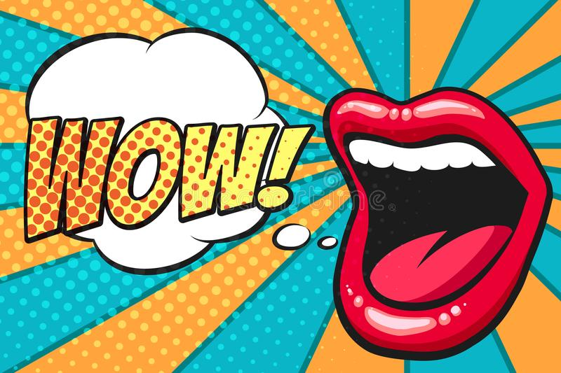 Bruit Art Mouth avec la bulle de wow illustration stock