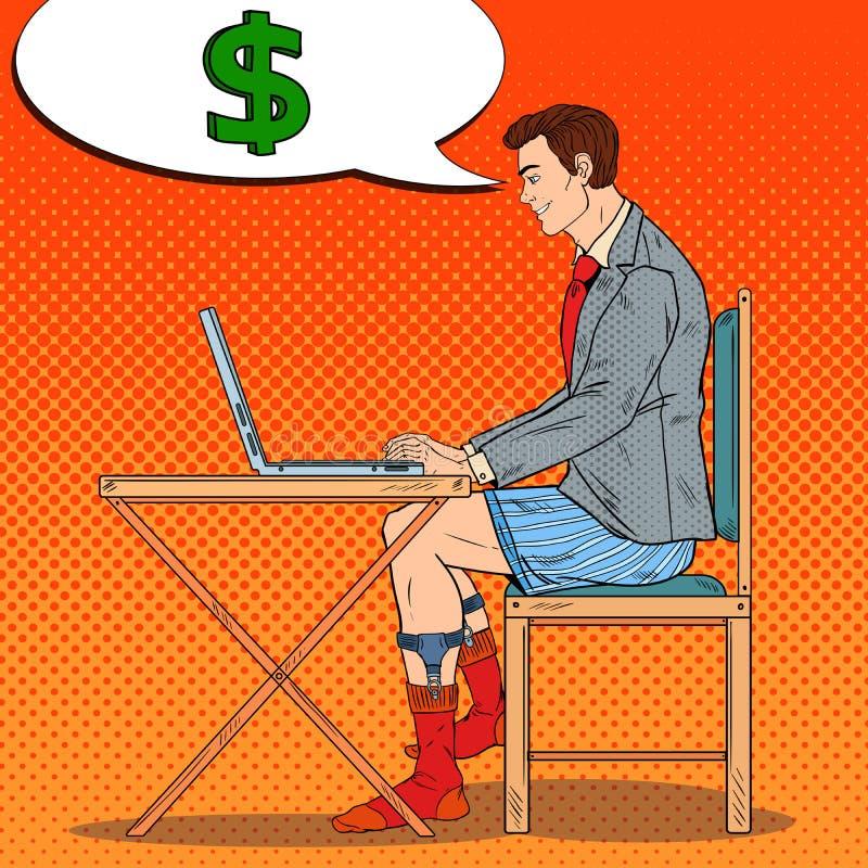 Bruit Art Overworked Businessman Working Late à la maison avec l'ordinateur portable Affaires des heures supplémentaires illustration de vecteur
