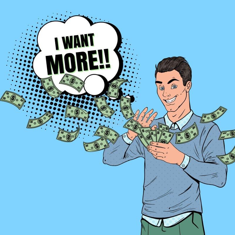 Bruit Art Rich Man Throwing Dollar Banknotes Homme d'affaires réussi avec de l'argent illustration de vecteur