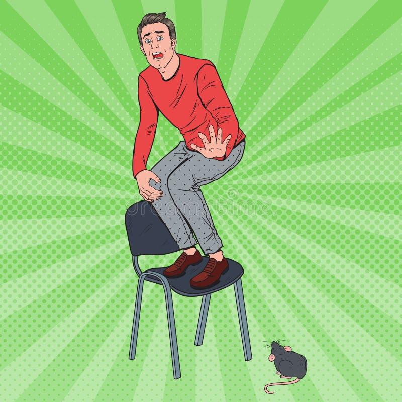 Bruit Art Screaming Man Scared par la souris Guy Afraid de rat illustration de vecteur