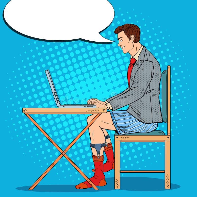 Bruit Art Smiling Man Working Late à la maison avec l'ordinateur portable illustration stock