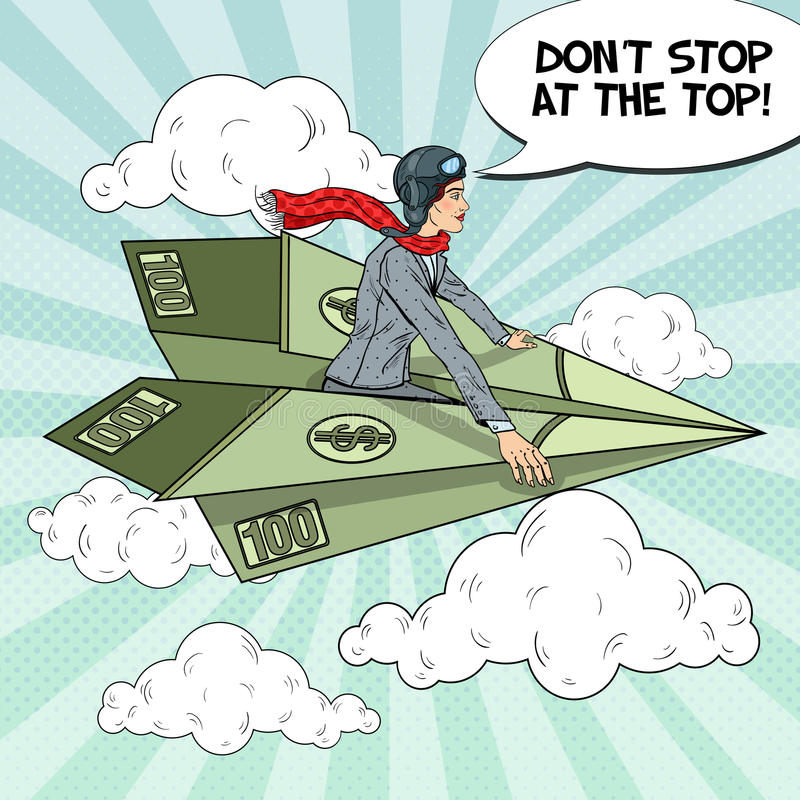Bruit Art Successful Business Woman Flying sur l'avion de papier du dollar illustration de vecteur