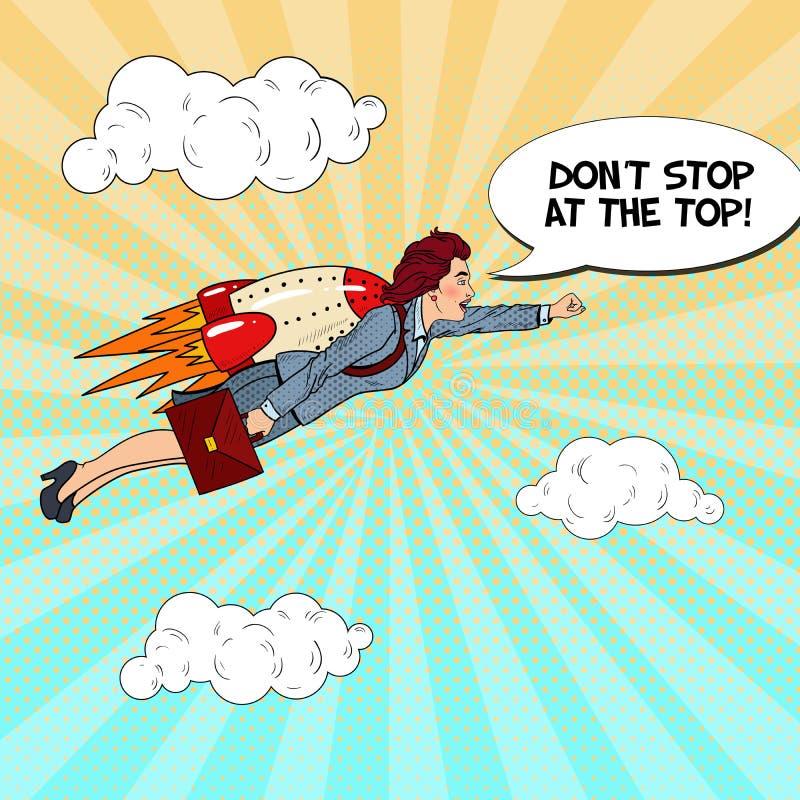 Bruit Art Successful Business Woman Flying sur Rocket Créatif commencez le concept illustration libre de droits