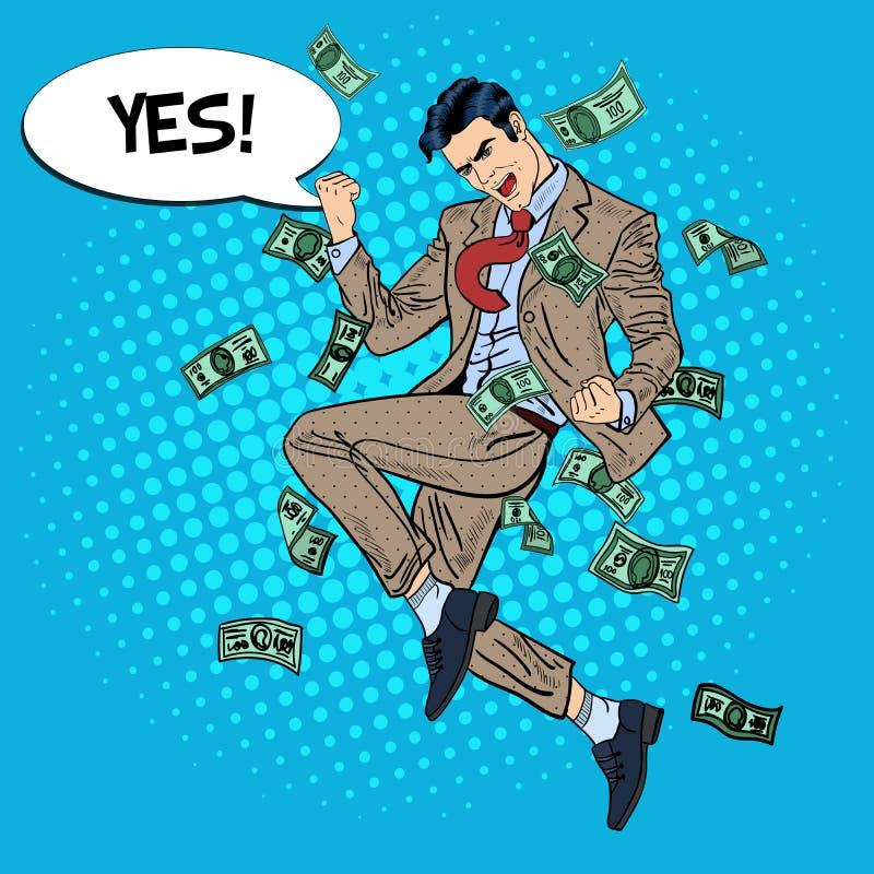 Bruit Art Successful Businessman Jumping avec la bulle comique de la parole oui en tombant vers le bas argent illustration stock