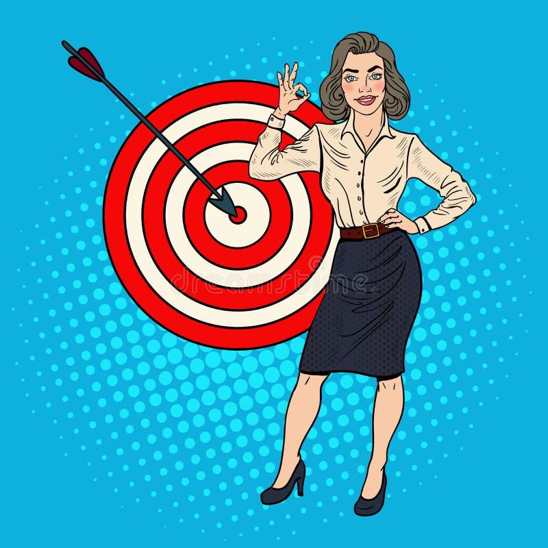 Bruit Art Successful Businesswoman Achieved la cible blanc de réussite d'isolement par concept d'affaires illustration stock