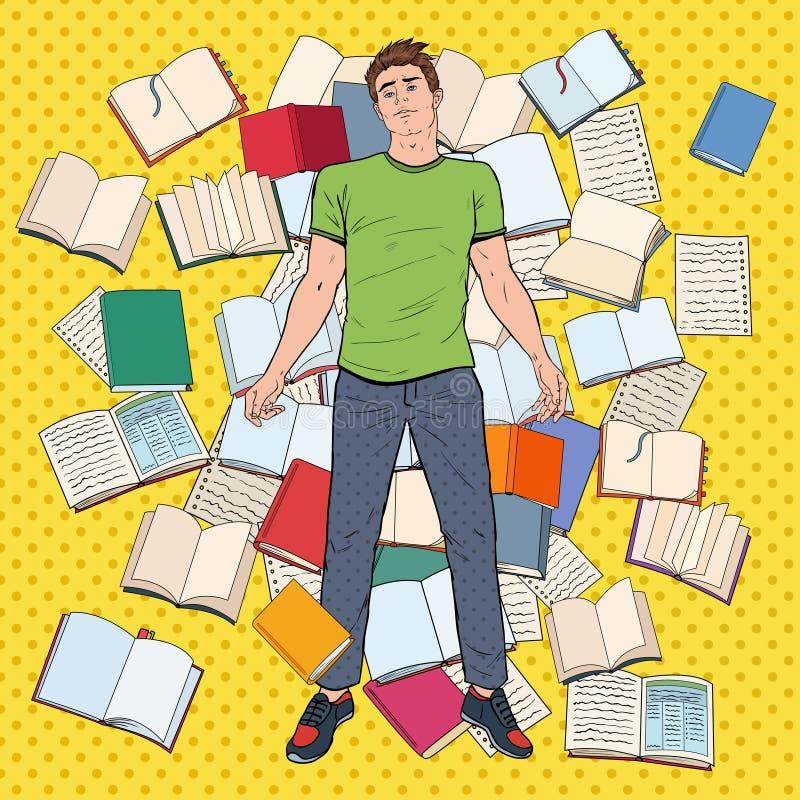 Bruit Art Tired Student Lying sur le plancher parmi des livres Jeune homme surchargé se préparant aux examens réserve vieux d'iso illustration libre de droits