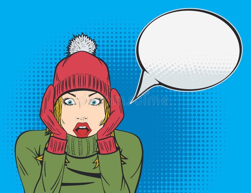 Bruit Art Winter Sale Poster avec la femme stupéfaite illustration de vecteur
