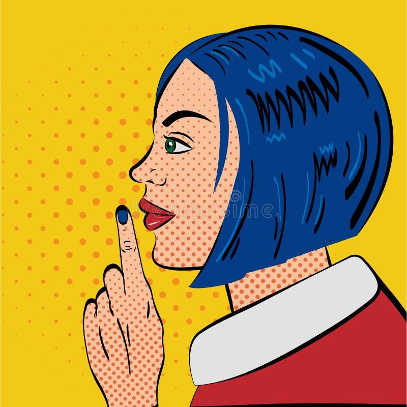 Bruit Art Woman avec le geste de silence photos stock