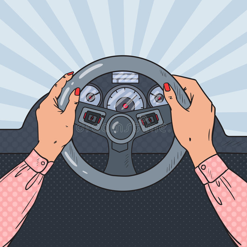 Bruit Art Woman Hands sur la roue de voiture Piloter sûr illustration stock