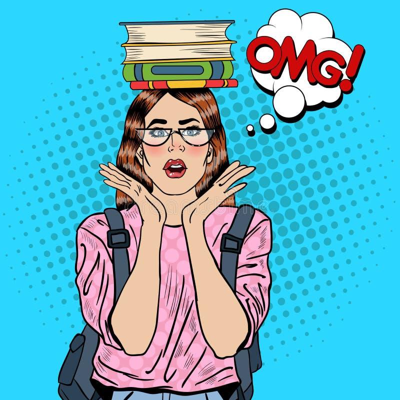 Bruit Art Woman Student avec des livres sur sa tête illustration de vecteur