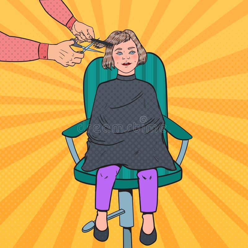 Bruit Art Young Girl Getting une coupe de cheveux Enfant dans le salon de coiffure Coiffeur Cutting Child Hair illustration stock