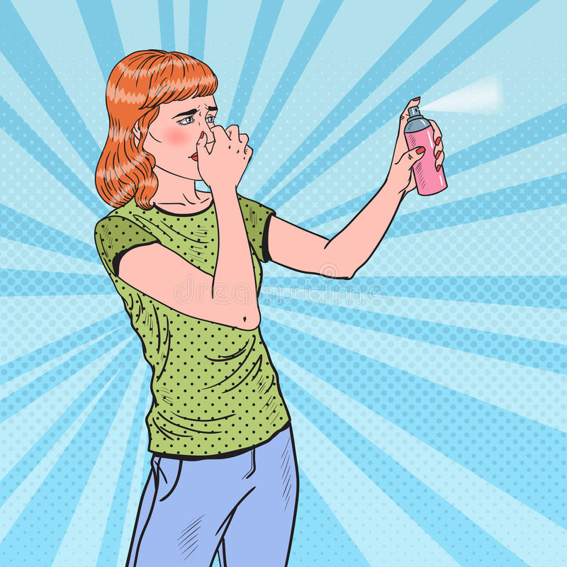 Bruit Art Young Woman Spraying Can de parfum d'ambiance illustration de vecteur
