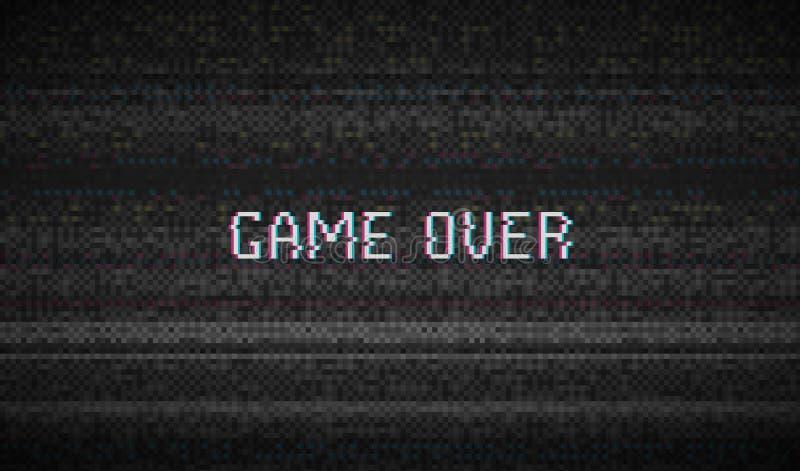 Bruit de pixel de texture de problème Fond de Digital VHS d'écran de l'essai TV jeu plus de Vidéo d'ordinateur d'erreurs Noir abs illustration libre de droits