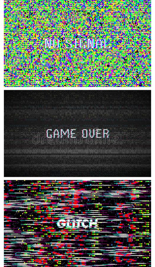 Bruit de pixel de texture de problème Fond de Digital VHS d'écran de l'essai TV Placez de la vidéo d'ordinateur d'erreurs Dommage illustration stock