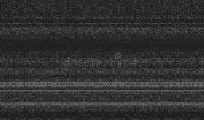 Bruit de pixel de texture de problème Fond de Digital VHS d'écran de l'essai TV Vidéo d'ordinateur d'erreurs Dommages noirs abstr illustration stock