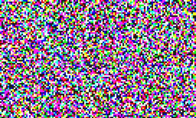 Bruit de pixel de TV de fond sans couture d'écran de grain de voie analogique Effet de problème de vecteur de l'interférence visu illustration de vecteur