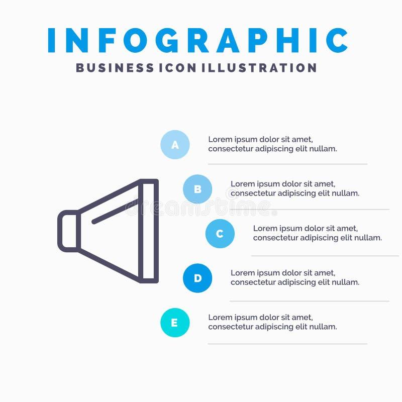 Bruit, haut-parleur, ligne icône de volume avec le fond d'infographics de présentation de 5 étapes illustration stock