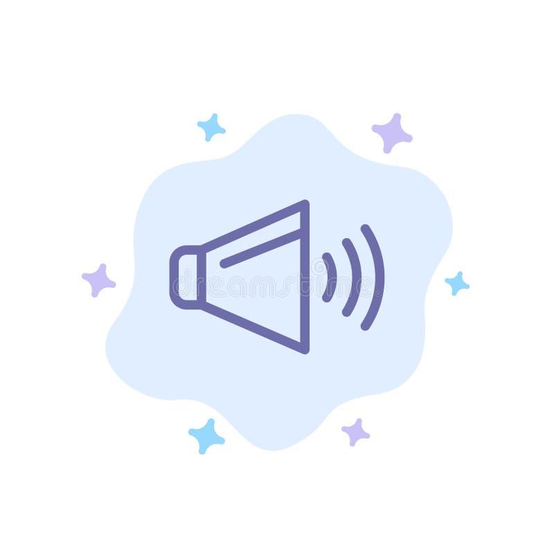 Bruit, haut-parleur, volume, sur l'icône bleue sur le fond abstrait de nuage illustration de vecteur