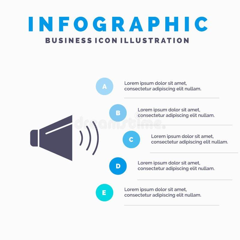 Bruit, haut-parleur, volume, sur le fond solide de présentation d'étapes d'Infographics 5 d'icône illustration libre de droits