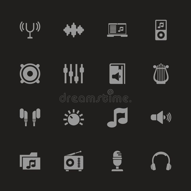 Bruit - icônes plates de vecteur illustration libre de droits