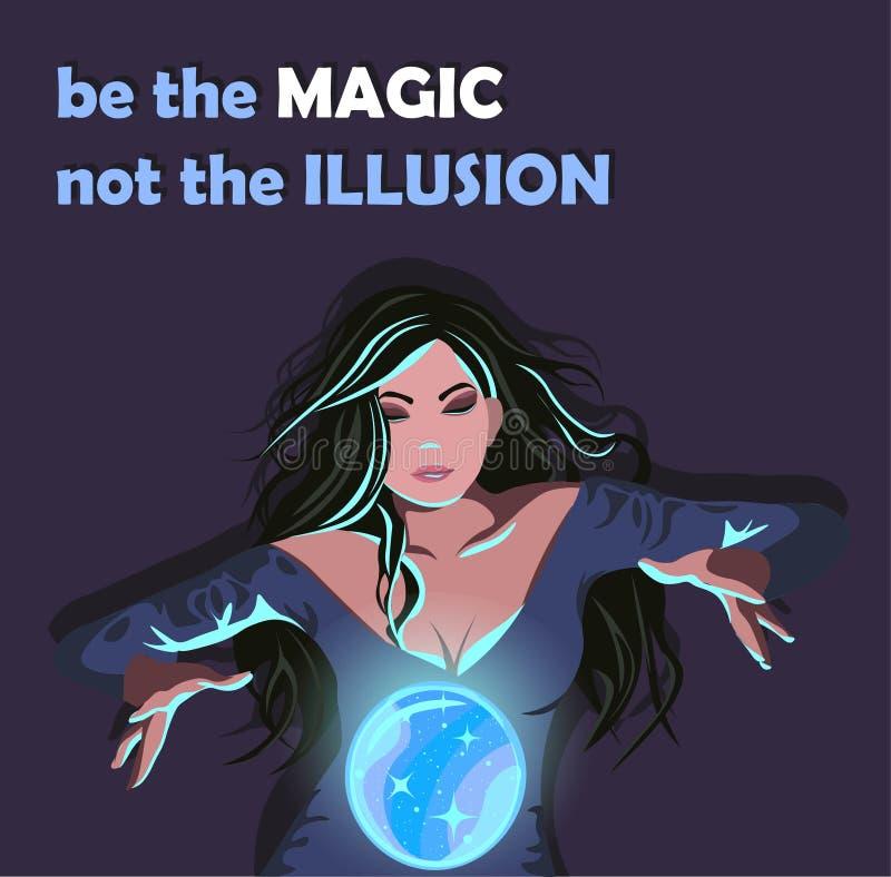 Bruja brunette con un vestido medieval haciendo un globo mágico para levitar Mujer con un afiche ilustrativo de bola de cristal b ilustración del vector
