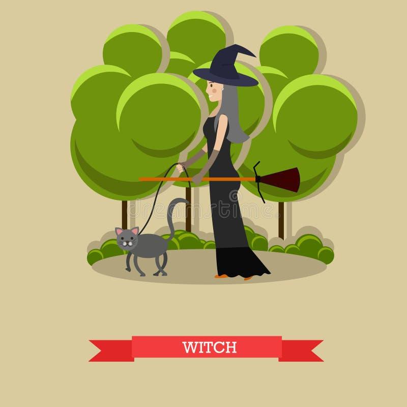Bruja con la escoba que camina su gato en un parque Cartel del concepto del día de fiesta del feliz Halloween Ejemplo del vector  libre illustration