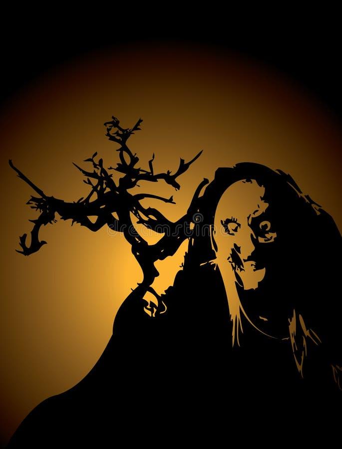 Bruja de Halloweeen stock de ilustración