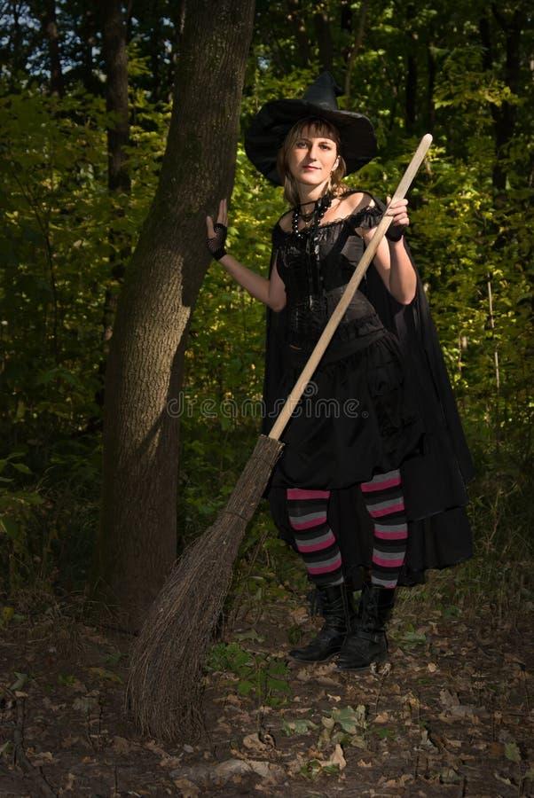 Bruja de Halloween con el palo de escoba fotografía de archivo libre de regalías