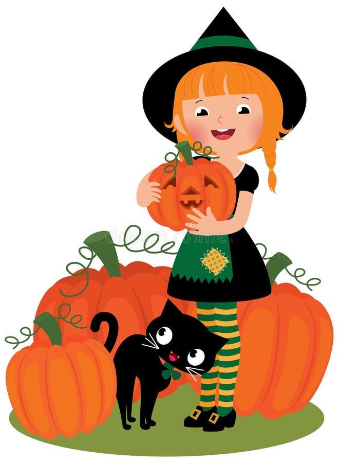 Bruja de Halloween con las calabazas ilustración del vector